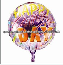 18'' feliz cumpleaños, globos de papel de forma redonda globos de la hoja de dibujos animados