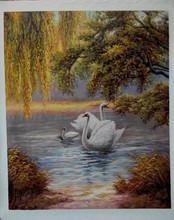 Fairy white swan lake painting