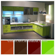 high glossy acrylic MDF kitchen cabinet doors and shutters with visable handle