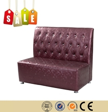 Restaurant furniture stainless steel legs leather purple sofa for sale