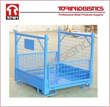 Collapsible industrial foldable rigid wire mesh pallet cage(L1180*W1140mm/OEM)