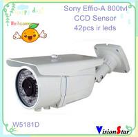 Sony varifocal cctv cameras 42pcs ir leds effio-a 800tvl with osd menu ccd color bullet ip66 security vdieo camera