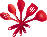 Sedex audit factory Cooking and Baking Non-stick Silicone Utensils - Set of 5 - (Red)
