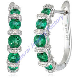 DAR 2015 Fashion Sterling Silver Created Emerald And Diamond-accented Hoop Earrings Piercing Jewelry