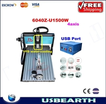 CNC 6040Z-U1500W 4axis router USB port Engraving and cuttting Machine With limit switch and 1.5KW VFD water cooling