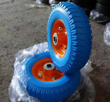 high quality blue color with metal rim 2.50-4 pu rubber caster wheel