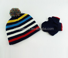 Beautiful design custom women knitted hat scarf glove set for winter