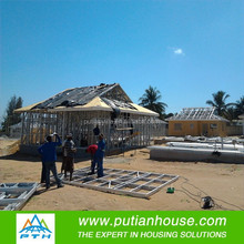metal sheet roof low cost 80m2 prefab house plan