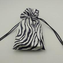 Fashion satin cosmetic bag pouches Zebra stripe