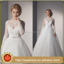 2014 New Fashion One-Shoulder Ruffle Tulle Dress with Beading Sash in the Waist Ball Gown Wedding Dress (WDRO-1023)