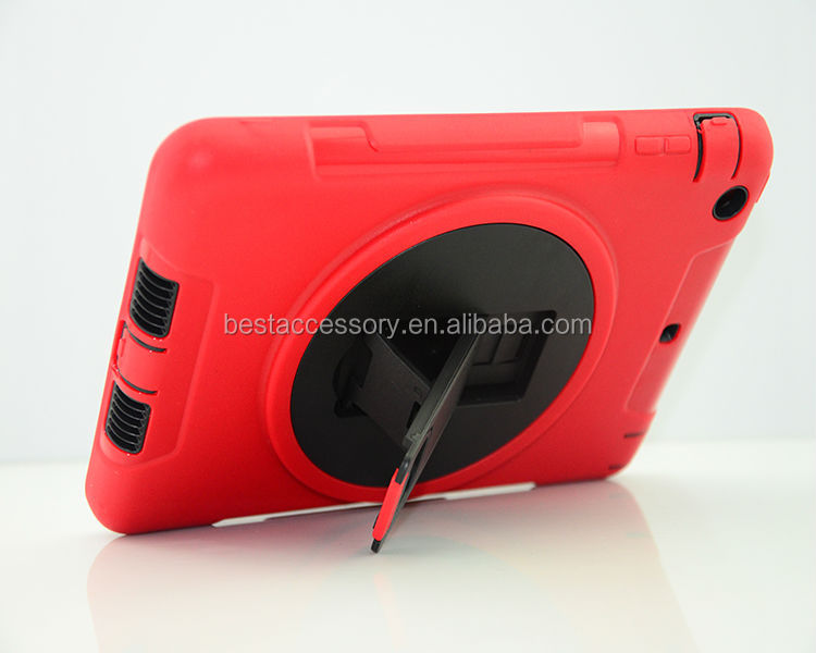 New producst Rotation stand case for ipad mini, dual layer protective cover for ipad mini