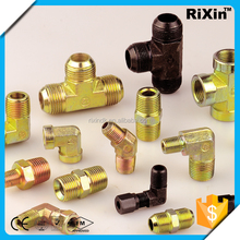 RX - 1187 wholesale brass close nipple brass flare tee union jic 37 flare fitting male elbow