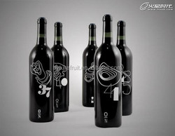 Sprayed black color 750ml special glass wine bottle