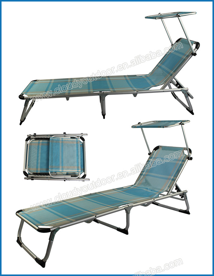 Outdoor folding beach chaise longue with sunshade buy for Beach chaise lounge folding