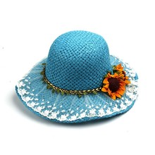 Light Pink Lace Brim Summer Beach Sun Flower Hat Straw Cap With Ribbon For Kids