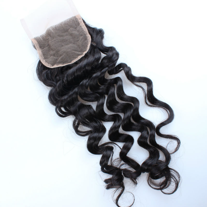 Deep Wave Brazilian Virgin Human Hair Top Lace Closure Free Part (4*4)  8-18 inch 120% Density Bulk Buy From China Hair Factory