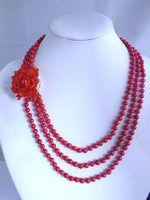 Perfect hot selling!3 circle red beads necklace with a red coral flowerfor African women!