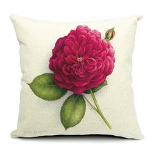 China rose decorative printing canvas flower pillows
