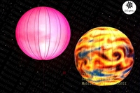 2015 custom design hanging inflatable lighting decoration Mars planets balloons