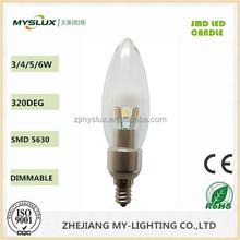 CE/ROHS Mini SMD 5630 Candle Light Bulb 3W/4W/5W Ra>80