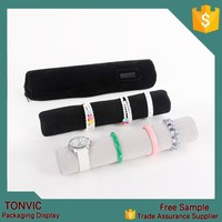 Black Superior Soft Jewelry Display Roll Bags Travel Portable Pouch Bracelete Storage Bag Chain Watch Case