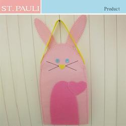 11.5x20inch Pink color felt bunny easter bag