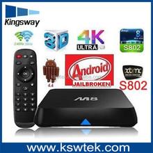 Top selling lastest XBMC m8 tv box octo-core mail-450 digital to analog tv converter box