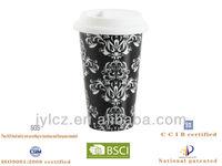 Thermo mug,Porcelain Couple mugs with,silica lid
