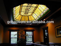 Stained glass decorative roof ceiling dome ,roof panel with LED