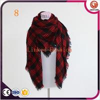 New Lady Women Blanket Oversized Plaid Cozy Checked Tartan Scarf Wraps shawl