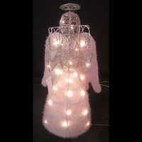 christmas sisal decorations reading angel with LED light