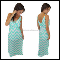 2014 Sexy Mint Chevron Maxi Dress for Middle Age Women LC212