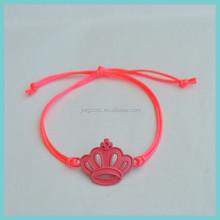 neon cord knotted charm kids bracelet promotion bracelet