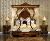 Italian Royal Wooden Bedroom Furniture, Luxury Upholstered Canopy Bed with Night Stands, Classical Hand Carved Bedroom Set