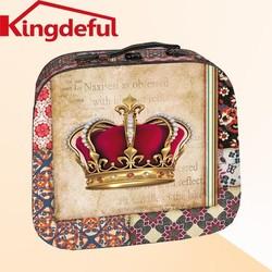 Crown wood Suitcase,Decrative Suitcase,Canvas storage box
