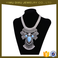 Yiwu Factory Wholesale Women Costume Jewelry Antique Silver Pendant Necklace