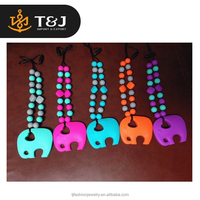 Best girft for firends mulit color beads silicone elephant pendant necklace