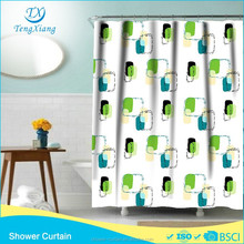 Polyester Fabric Green Box Printed Shower Curtain