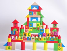 Wood educational toys alphanumeric building blocks