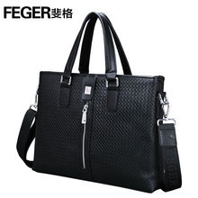 FEGER cow hide leather handle office briefcase for men