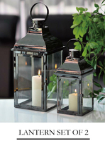 Set 2 copper metal and glass lanterns with handles