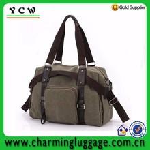 Leisure large capacity handbag customize canvas fabric shoulder hiking travel cosmetic bag