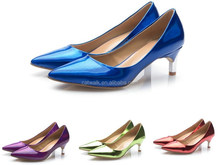 CATWALK15-S0390208 Picture Sexy Women Low Heel Wedding Shoes Royal Blue Patent Leather Shoes Low Heel