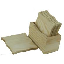 Madera clásico té de bambú 4 posavasos juego con soporte / manteles / homex-fsc, madera en blanco Tea Coaster