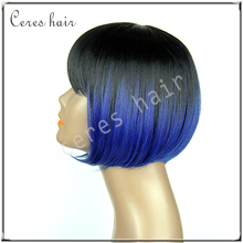 High Tempreture fiber synthetic wig ombre blue short bob wig synthetic lace front wig for fashion women