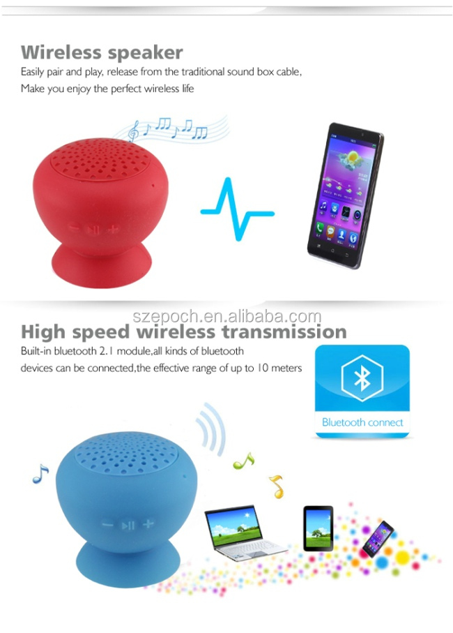 2014 NEW product 3W with suction cup for Bluetooth wireless Speaker, portable Speaker