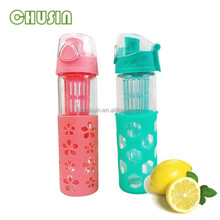 Borosilicate promotion 2015 new glass water bottle with infuser