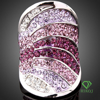multi-color austrian crystal 18k gold filled jewelry GP petal ring