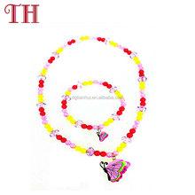 wholesale child trendy jewelry kids girls colorful bead necklace bracelet set