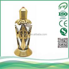 Unique fancy design solild golden bottle arab dubai style perfume packaging